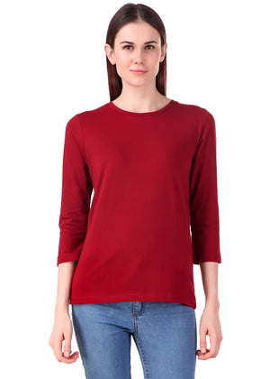 Maroon-Long-Sleeve-Plain-T-Shirt-for-Women-Online-at-Gajari.com-The-Best-T-Shirt-Brand-fv
