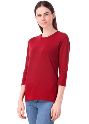 Maroon-Long-Sleeve-Plain-T-Shirt-for-Women-Online-at-Gajari.com-The-Best-T-Shirt-Brand-lv