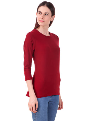 Maroon-Long-Sleeve-Plain-T-Shirt-for-Women-Online-at-Gajari.com-The-Best-T-Shirt-Brand-rv