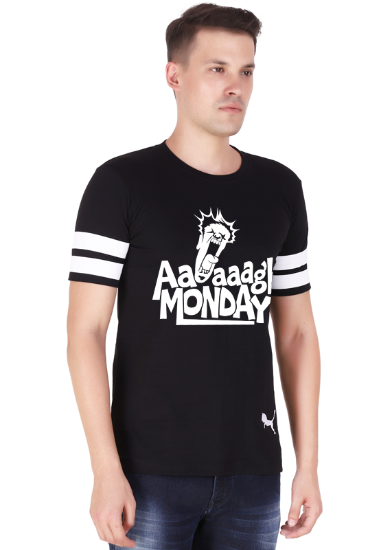 Monday-T-Shirt-for-Men-Black-Pure-Cotton-at-Gajari-front