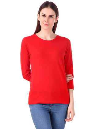 Red-Long-Sleeve-Plain-T-Shirt-for-Women-Online-at-Gajari.com-The-Best-T-Shirt-Brand-fv1