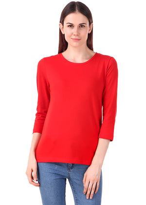 Red-Long-Sleeve-Plain-T-Shirt-for-Women-Online-at-Gajari.com-The-Best-T-Shirt-Brand-fv