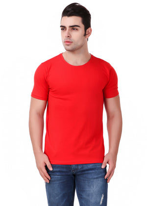 Red-Short-Sleeve-Plain-T-Shirt-for-Men-Online-at-Gajari.com-The-Best-T-Shirt-Brand-Front-View