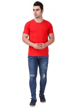 Red-Short-Sleeve-Plain-T-Shirt-for-Men-Online-at-Gajari.com-The-Best-T-Shirt-Brand-full-front-view