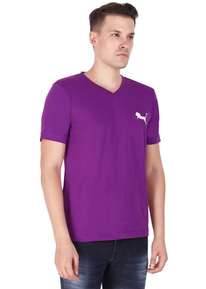v neck t shirt for men purple tee pure cotton rv