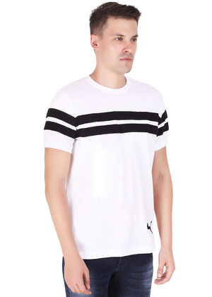 Striped Cotton T-Shirt for Men Stylish White and Black at Gajari Online T-Shirt Shopping India Right View