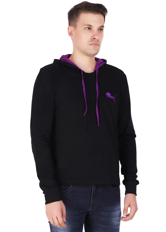 branded hoodies for men black full sleeve made of pure cotton jersey fv
