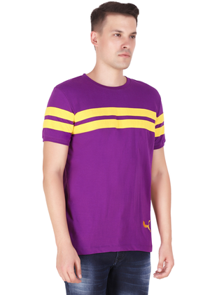 Purple T-Shirt for Men Stylish Half Sleeve Yellow Stripe Cotton Built at Gajari rv