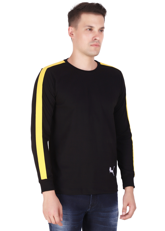 full sleeve t shirt for men pure cotton black fv