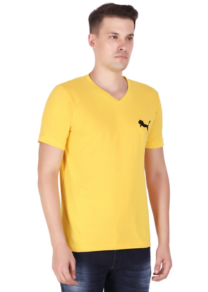V Neck T Shirt for Men Pure Cotton Yellow rv