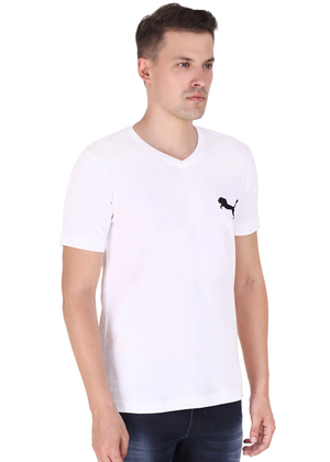 V Neck T Shirt for Men White Pure Cotton T rv