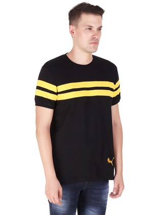 T-Shirt for Men Stylish made of cotton jersey available in black half sleeve round neck at gajari rv