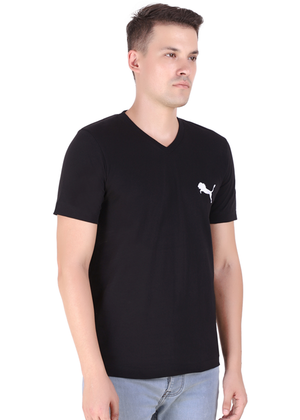 V Neck T Shirt for Men Black Pure Cotton rv