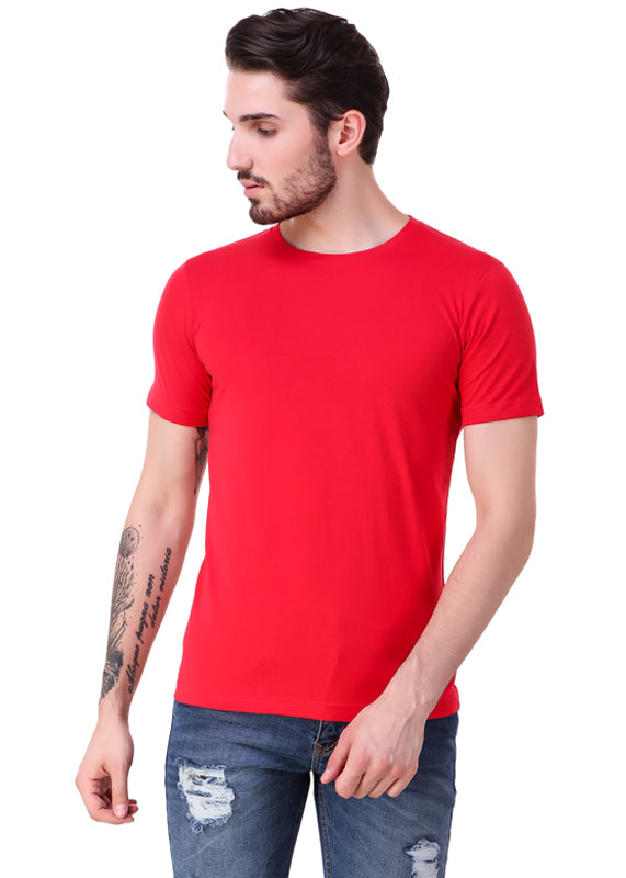 b913e362a57 Buy Rose Red Short Sleeve Men s Plain T-Shirt - Gajari.com
