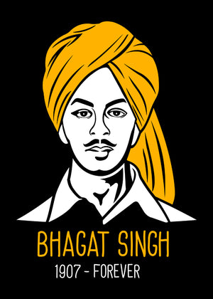 Shaheed-Bhagat-Singh-T-Shirt-for-Men-Online-at-Gajari.com-Influential-Edition-Graphic