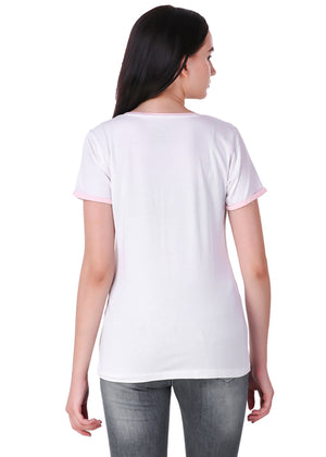 White-Short-Sleeve-Plain-T-Shirt-for-Women-Online-at-Gajari.com-The-Best-T-Shirt-Brand-Back-View