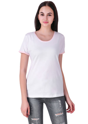 White-Short-Sleeve-Plain-T-Shirt-for-Women-Online-at-Gajari.com-The-Best-T-Shirt-Brand-Front-View