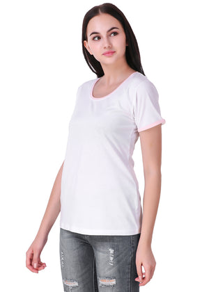 White-Short-Sleeve-Plain-T-Shirt-for-Women-Online-at-Gajari.com-The-Best-T-Shirt-Brand-Left-View