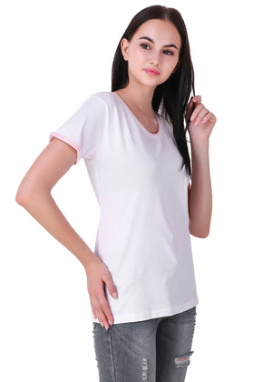 White-Short-Sleeve-Plain-T-Shirt-for-Women-Online-at-Gajari.com-The-Best-T-Shirt-Brand-Right-View