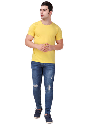 Yellow-Short-Sleeve-Plain-T-Shirt-for-Men-Online-at-Gajari.com-The-Best-T-Shirt-Brand-full-front-view