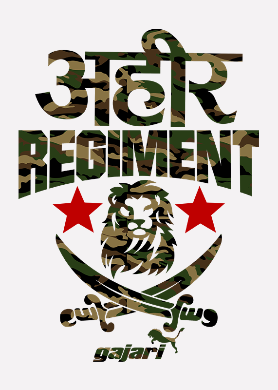 ahir-regiment-t-shirt-Gajari-online-shopping-India-front