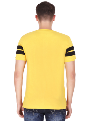 Cotton T-Shirt for Men Stylish Half Sleeve Yellow Color Black Striped online shopping India at Gajari back