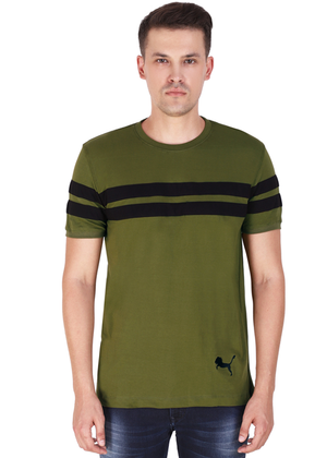100% Cotton T-Shirt for Men Stylish Olive Green Black Striped online T-shirt shopping India fv