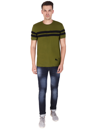 100% Cotton T-Shirt for Men Stylish Olive Green Black Striped online T-shirt shopping India ffv