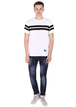 Striped Cotton T-Shirt for Men Stylish White and Black at Gajari Online T-Shirt Shopping India Front Full View