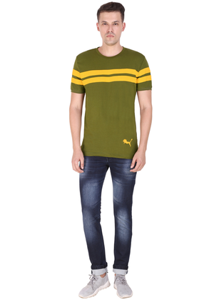 Olive Green yellow Striped T-shirt for men half sleeve cotton jersey at Gajari ff