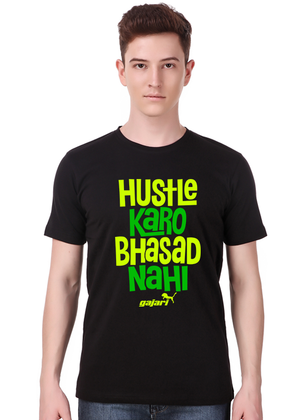 hustle-karo-bhasad-nahi-T-Shirt-for-Men-Gajari-Online-Shopping-India-green-front