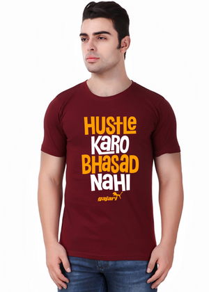 hustle-karo-bhasad-nahi-T-Shirt-for-Men-Gajari-Online-Shopping-India-maroon-front
