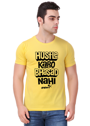 hustle-karo-bhasad-nahi-T-Shirt-for-Men-Gajari-Online-Shopping-India-yellow-front