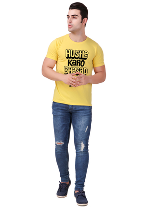 hustle-karo-bhasad-nahi-T-Shirt-for-Men-Gajari-Online-Shopping-India-yellow-full
