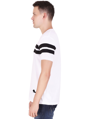 Striped Cotton T-Shirt for Men Stylish White and Black at Gajari Online T-Shirt Shopping India Left View