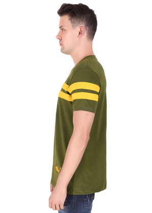 Olive Green yellow Striped T-shirt for men half sleeve cotton jersey at Gajari rv
