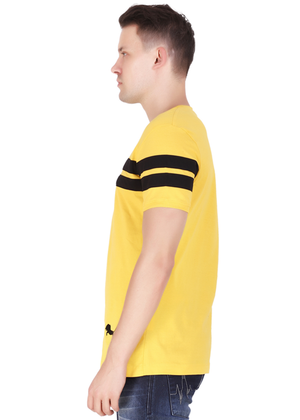 Cotton T-Shirt for Men Stylish Half Sleeve Yellow Color Black Striped online shopping India at Gajari lv