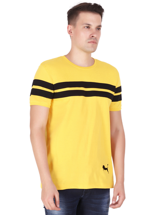 Cotton T-Shirt for Men Stylish Half Sleeve Yellow Color Black Striped online shopping India at Gajari rv