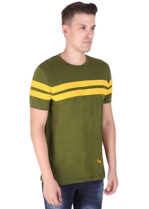 Olive Green yellow Striped T-shirt for men half sleeve cotton jersey at Gajari lv