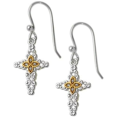 Cubic Zirconia Cross with Spot Gold Plating Wire Earrings