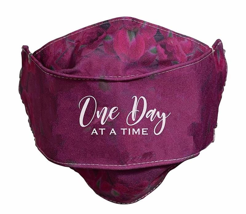 One Day At A Time Burgundy Face Mask