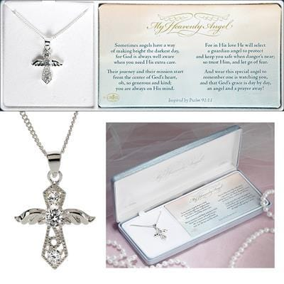 NECKLACE ANGEL SIL PLT CZ .75 WITH 18 CHN
