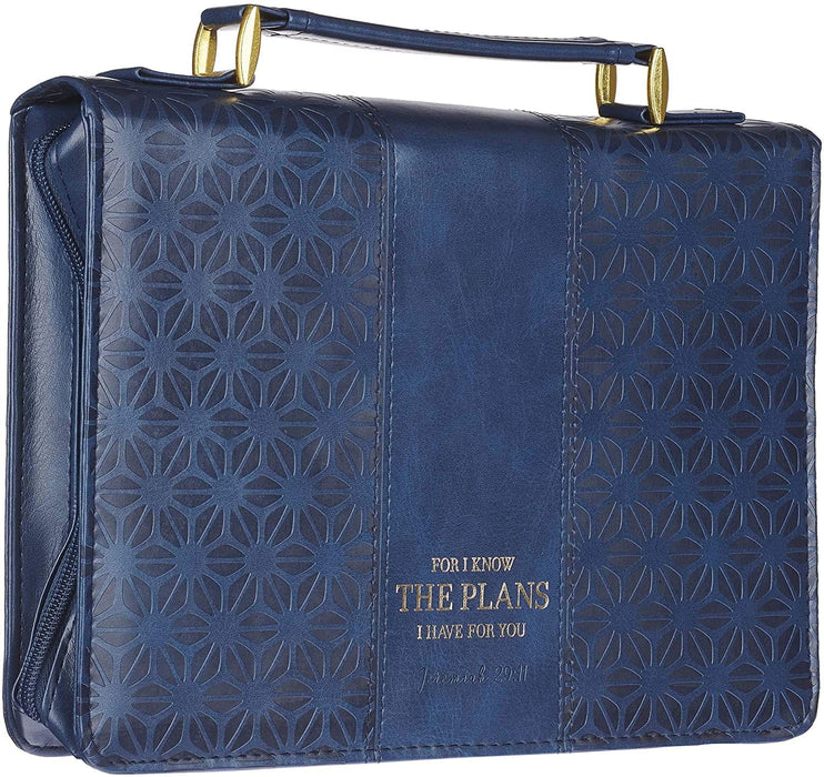 I Know The Plans Blue Faux Leather Fashion Bible Cover - Jeremiah 29:11