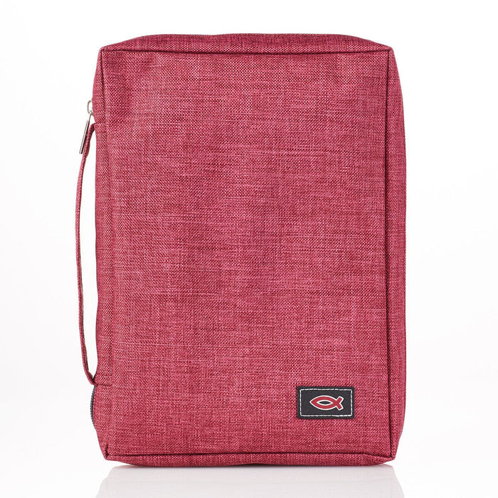 Burgundy Poly-Canvas Value Bible Cover with Fish Badge