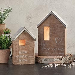 Decorative Wooden Houses - Set of 2 - Home