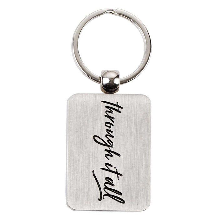 It Is Well Metal Keyring in Navy