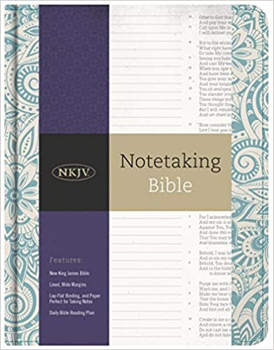 NKJV Notetaking Bible, Blue Floral Hardcover