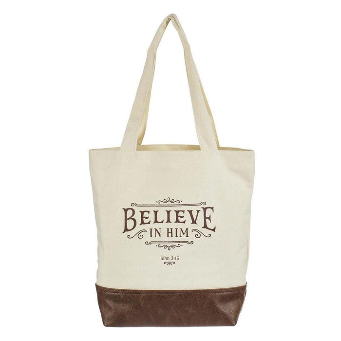 Believe in Him Canvas Tote Bag - John 3:16