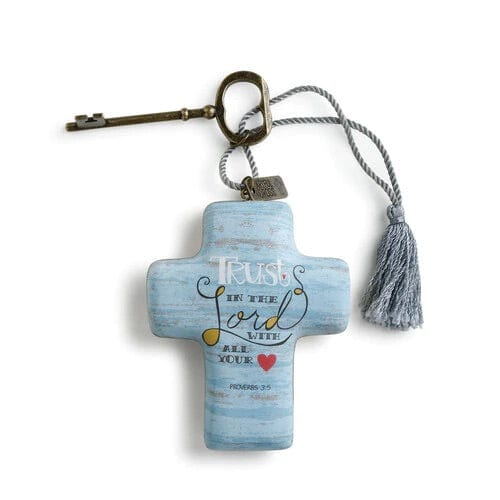 Trust in the Lord Blue 4 x 3 Cross Shaped Resin Keepsake Decoration
