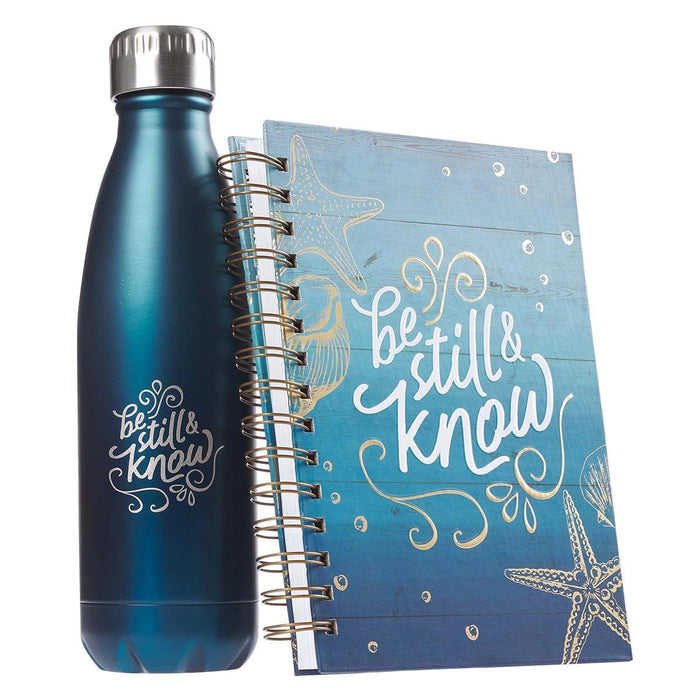 Be Still & Know Water Bottle and Journal Gift Set for Women - Psalm 46:10